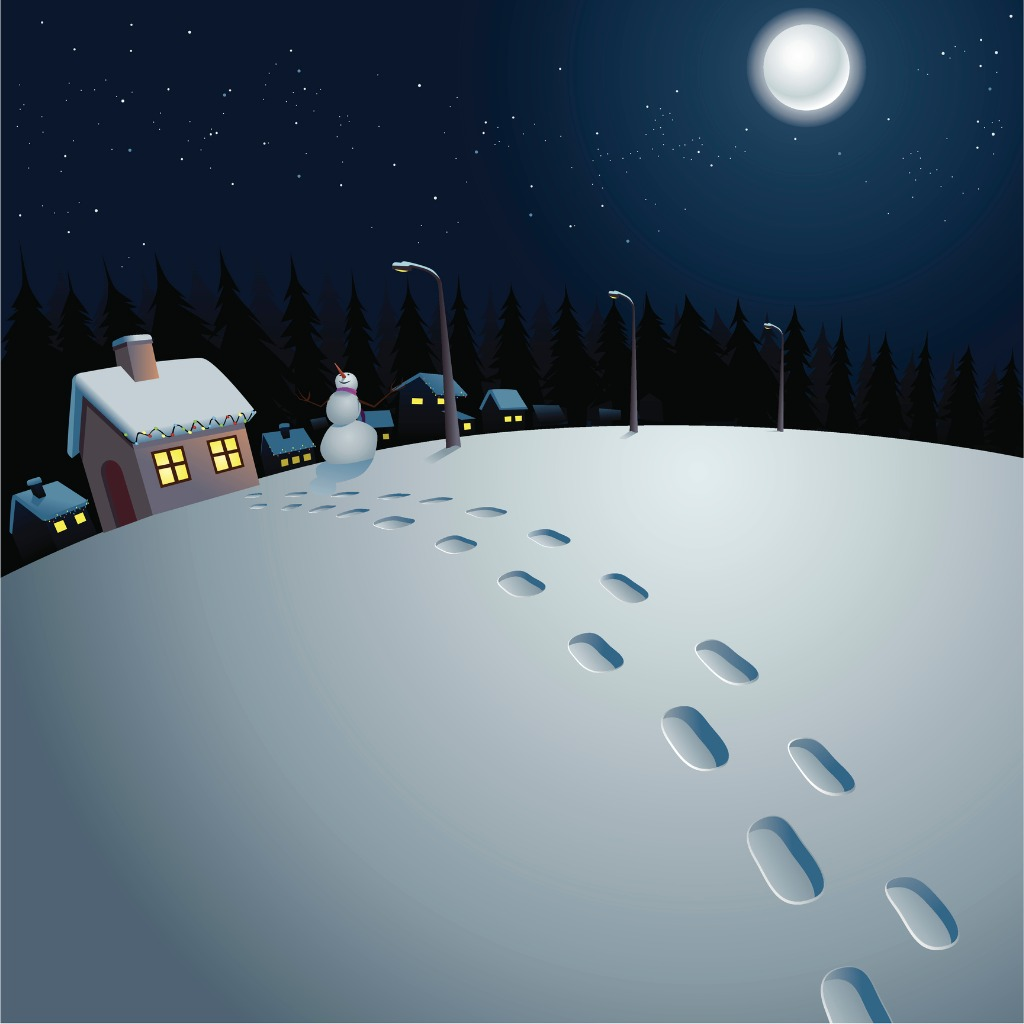 Footsteps on snow stock illustration